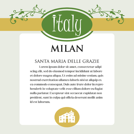 Designe page or menu for Italian products. It can be a guide with information about Italian city of Milan Stock Illustratie