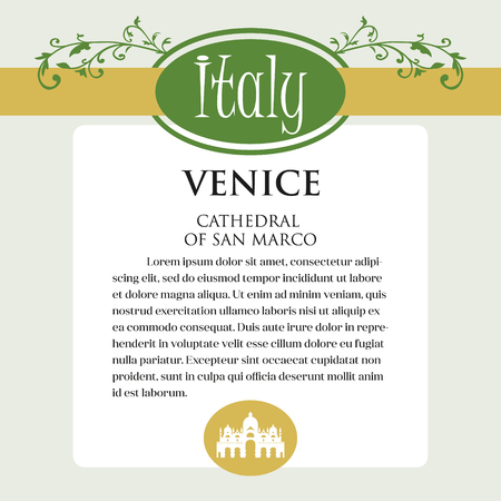 Design page or menu for Italian products. It can be a guide with information about Italian city of Venice.