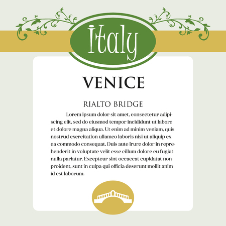 Designe page or menu for Italian products. It can be a guide with information about Italian city of Venice.Rialto Bridge