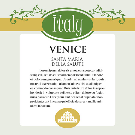 Designe page or menu for Italian products. It can be a guide with information about Italian city of Venice. Banco de Imagens - 102638740
