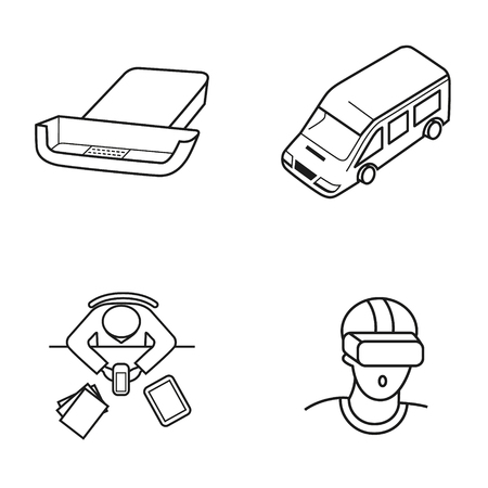 Set of icons for mobile virtual reality. Contour icons