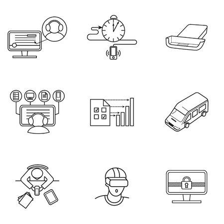 set of icons for mobile virtual reality and working in the office Ilustração
