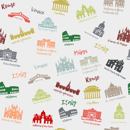 Seamless pattern of Italy. Building, landmarks of sities. Silhouette travel icons Illustration