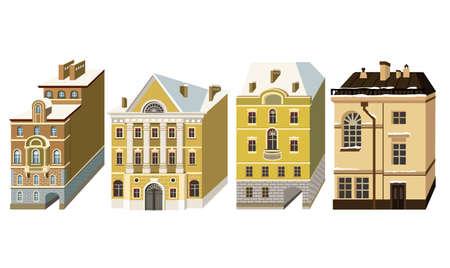 Miniaturhäuser im Stil des Klassizismus. Vektorillustration mit schönen Gebäuden der Stadt Sankt-Petersburg.