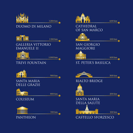 Infografía de símbolos de Italia, puntos de referencia en color dorado. Ilustración vectorial. Venecia, Milán, Italia, Roma. Establecer para su diseño Ilustración de vector