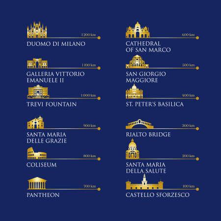 Infografica dei simboli dell'Italia, punti di riferimento in colore oro. Illustrazione vettoriale. Venezia, Milano, Italia, Roma. Imposta per il tuo design Vettoriali