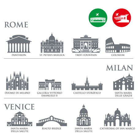 Set of Italy symbols, landmarks in gray color. Vector illustration. Venice, Milan,Italy, Rome