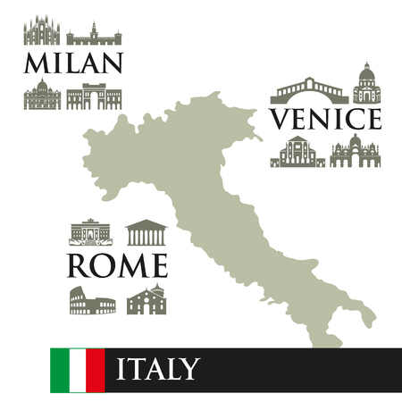 Infographic. Contour map of Italy. Sights symbols of the city, near the town. Milan, Rome, Venice.