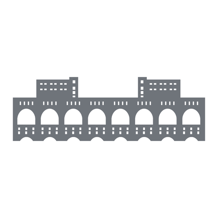 Pictogram of a hydroelectric power station on the Volkhov River, Russia. Leningrad Region