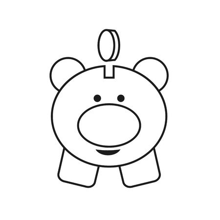 Money box line icon. Piggy. Linear graphic pictures