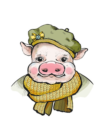 Portrait of a piglet in a round soft cap on head. Ears stick out from under the hats. On the beret yellow bow-knot. Pig, wrapped in a knitted scarf mustard color. Illustration for a greeting card Ilustração