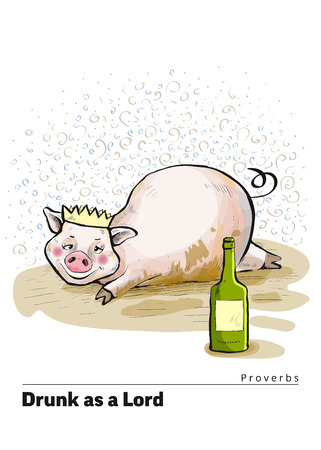 A series of postcards with a piglet. Proverbs and sayings per month. Drunk as a Lord. Pig lies in a dirty puddle. The crown is worn on the head. Cute funny piggy. Hand-drawn. Cartoon. Watercolor style Vectores