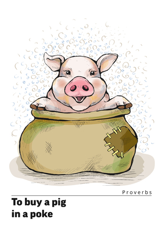 A series of postcards with a piglet. Proverbs and sayings. To buy a pig in a poke