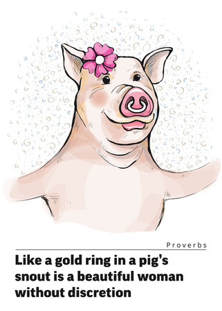 Series of postcards with a piggy. Proverbs and sayings. Like a gold ring in a pig s snout is a beautiful woman without discretion. A pig woman with an amiable look. In a nose is ring. Watercolor style