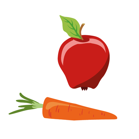 Series of icons for the Easter theme. Dietary food. Food for Lent time. Apple and carrot. Isolated vector illustration