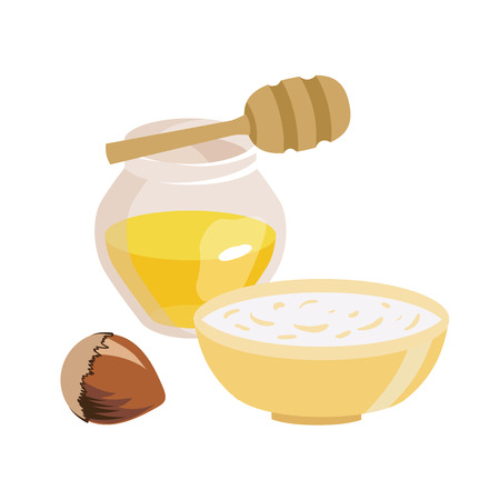 Series of icons for the Easter theme. Dietary food. Food for Lent time. Transparent jar with honey. A bowl of oatmeal. Hazelnut. Wooden stick for honey. Isolated vector illustration