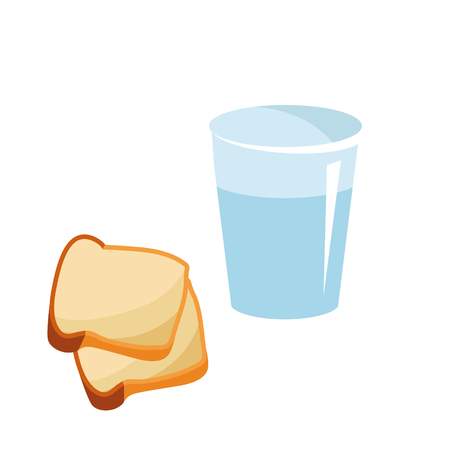 A glass of pure water and two slices of bread for the beginning of Lent. Reduced meal in Lent with bread and water. Abandonment, eating. Food for Lent time. Isolated vector illustration Ilustração