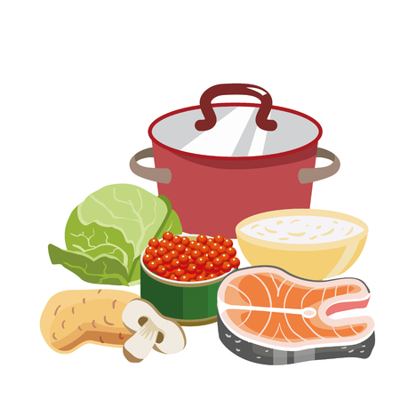 Red saucepan with copper lid. Ingredients for the preparation soup and a bowl of oatmeal. Cabbage, carrots, half of shumpinion. And delicious red caviar. Icon for the Easter theme. Dietary food Ilustração