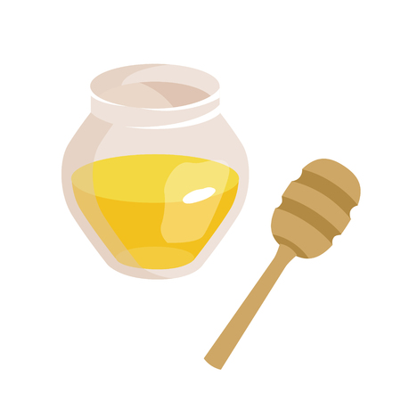 Series of icons for the Easter theme. Dietary food. Food for Lent time. Transparent jar with honey. Wooden stick for honey. Isolated vector illustration