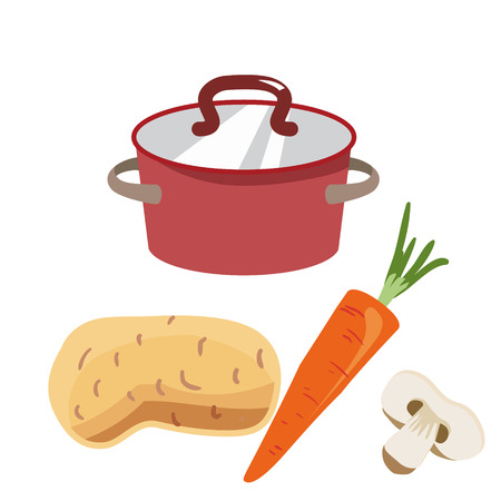 Casserole rouge avec couvercle en cuivre. Ingrédients pour la préparation de la soupe aux champignons : pommes de terre, carottes, shumpinion. Icône pour le thème de Pâques. Alimentation diététique pour le temps de Carême. Illustration vectorielle isolée