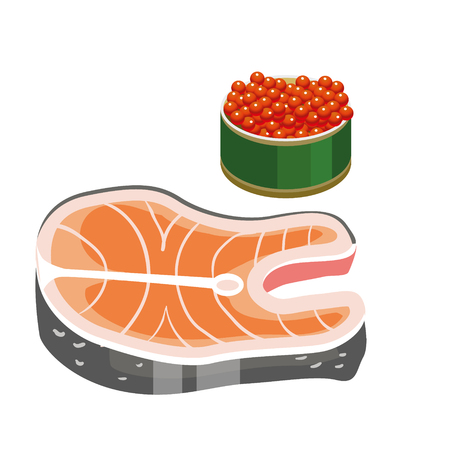 Set for a great diet during Lent. Dietary food. The last days you can eat caviar and fish. Fish on Thursdays. Isolated vector illustration