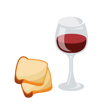 Series of icons for the Easter theme. Dietary food. A glass of wine and a slice of bread. Food for thought Food for Lent time. Isolated vector illustration