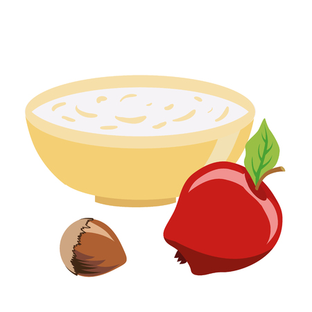 Series of icons for the Easter theme. Dietary food. Food for Lent time. A bowl of oatmeal. Hazelnut and apple. Isolated vector illustration