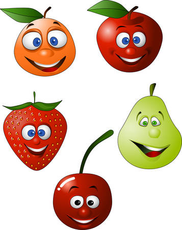 Funy Fruit character illustration Stock Vector - 4565892