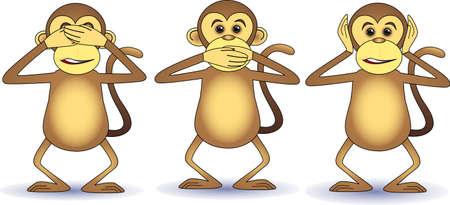 Three wishes monkey Vector