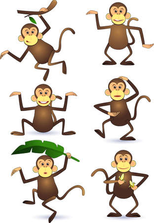 Funny monkey character Vector