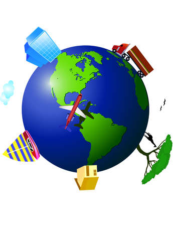 Activity on earth Stock Vector - 4657673