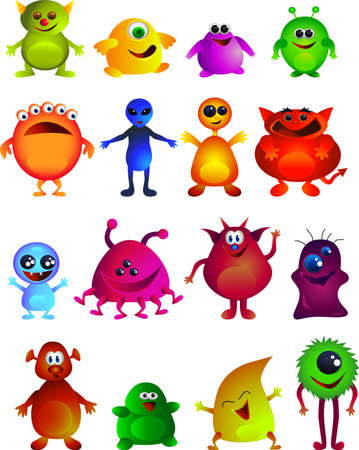 Collecation od cute little monster Illustration