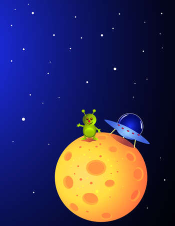Alien landing on a planet Vector