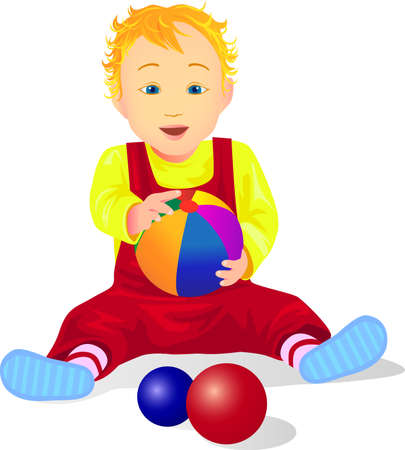 Baby playing colorful ball Stock Vector - 5358742