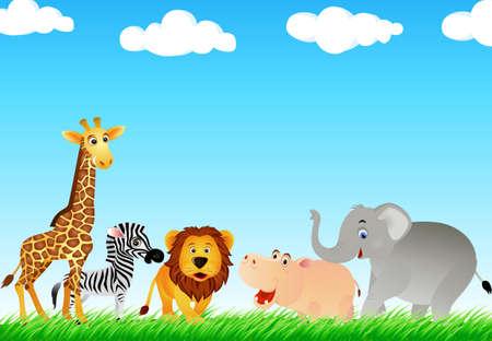 動物: 野生の動物 cartton