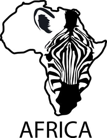 map of africa: Zebra silhouette framed by Africa continent