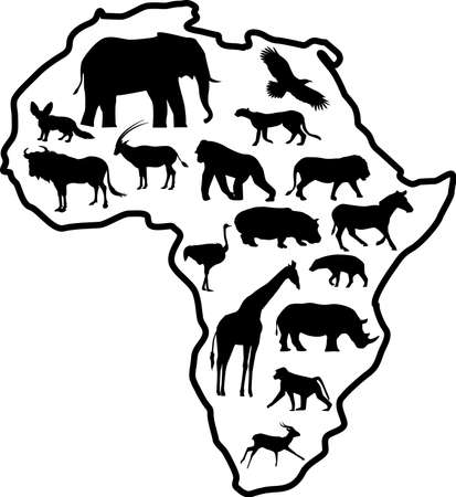 Africa Safari Animal Silhouette Vector