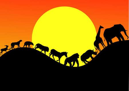 アフリカの動物パレード