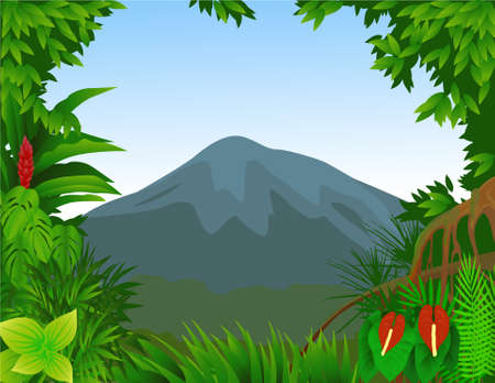 amazon forest: Forest and mountain background Illustration