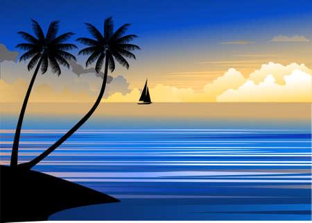 Puesta de sol playa tropical  Ilustración de vector