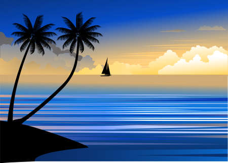 Tropischen Strand sunset  Illustration