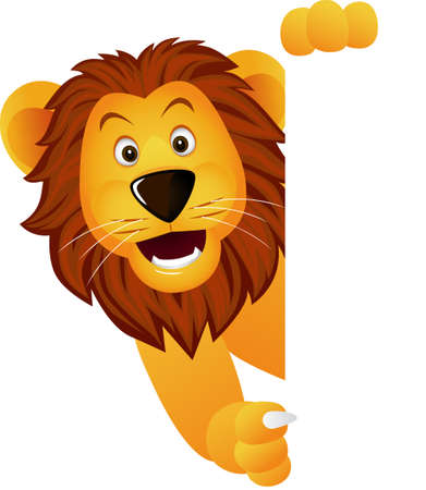 Cute lion and white banner Vector