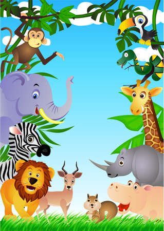 green leaves border: Funny safari animal cartoon