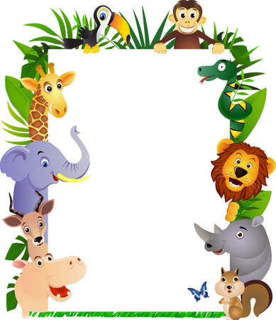 illustration zoo: Cornice animali divertenti cartoni animati  Vettoriali
