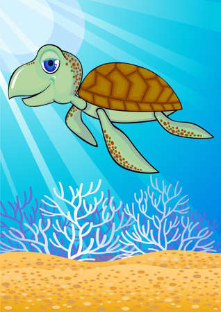 Cute turtle swiming in the ocean Vector