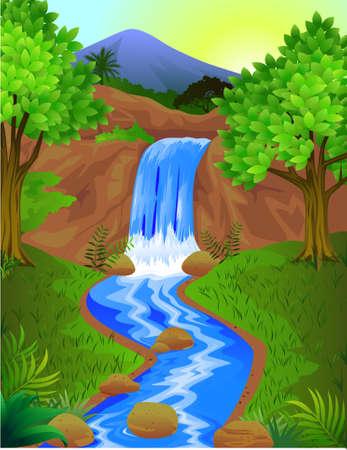 Beautiful waterfall Stock Vector - 6765982