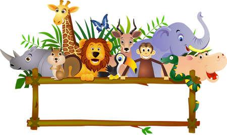 illustration zoo: Divertente fumetto animale ed etichetta vuota