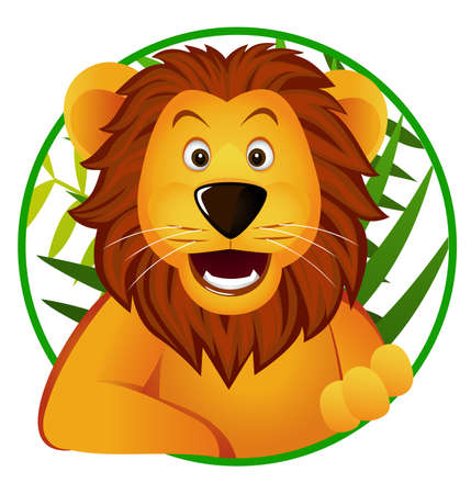 cartoon for�t: Dr�le de lion dessin anim�. Illustration