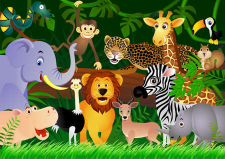 cartoon for�t: Animal dans la jungle.
