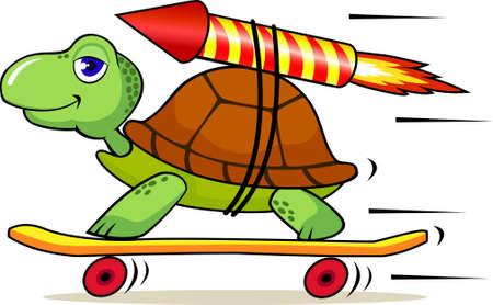 tortuga: Tortuga con cohete para aumentar la velocidad Vectores